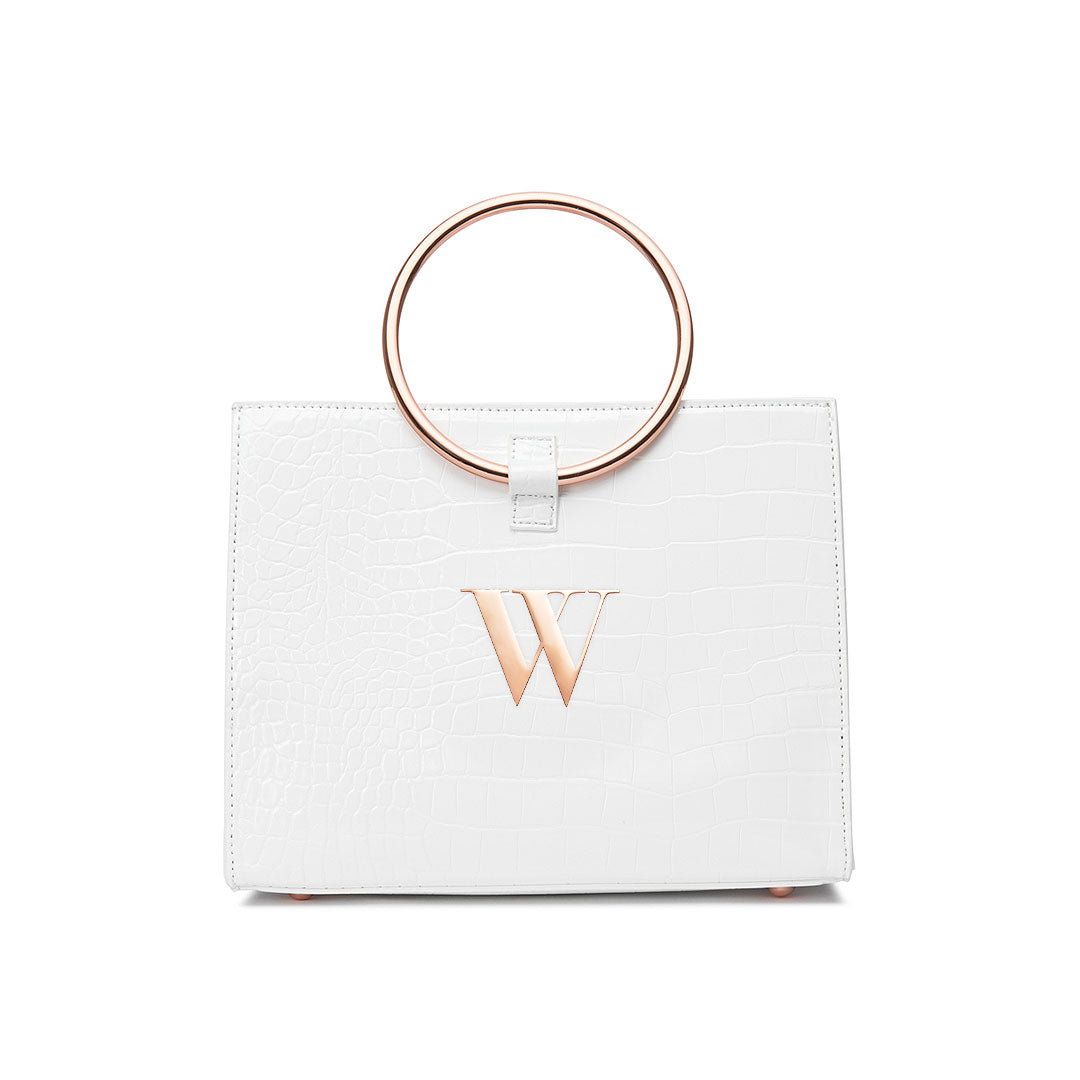 Moda Croc Top Handle Bag (Shell White/Rose Gold)