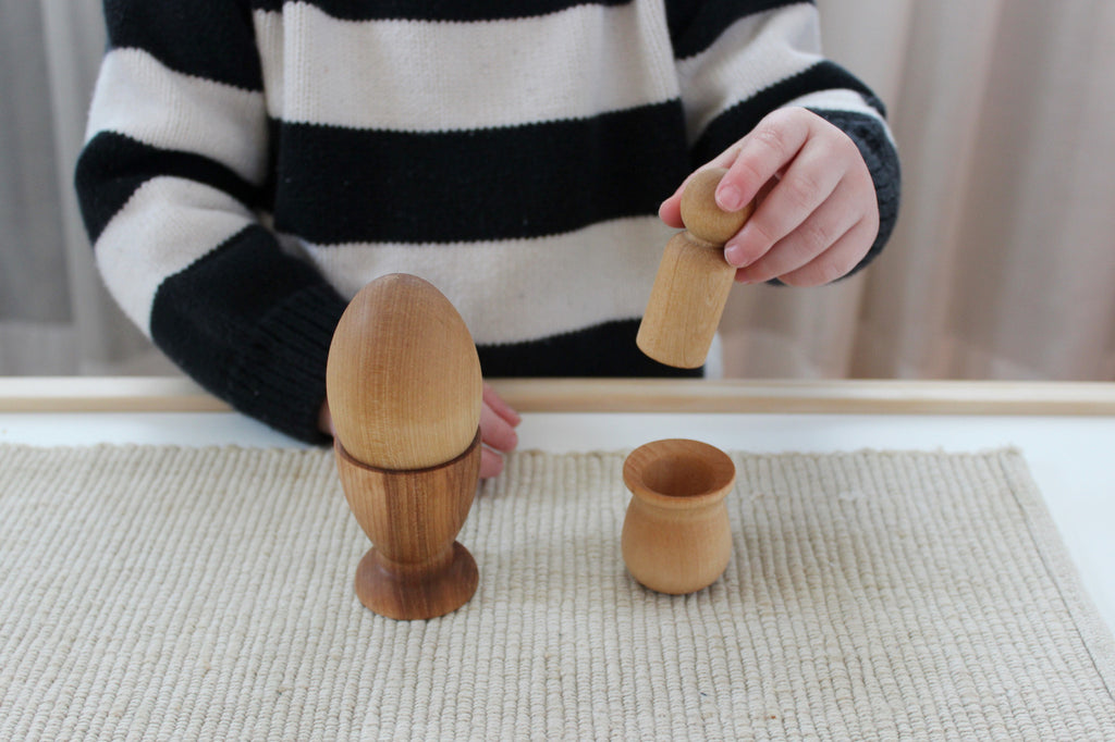 Wooden Egg+Cup and Peg+Cup - Montessori Baby and Toddler Toys