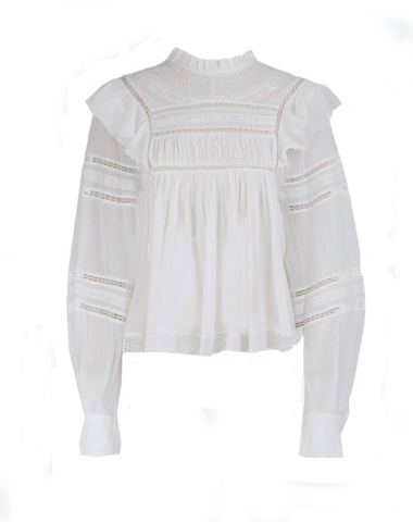 Isabel Marant Etoile Viviana Embroidered top white