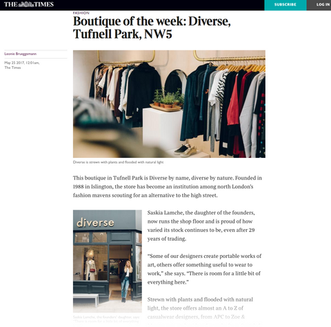Times Boutique of Week featuring Diverse May 2017