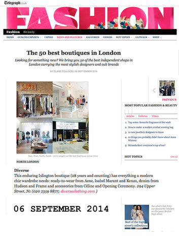 Daily Telegraph names Diverse among Best 50 London boutiques