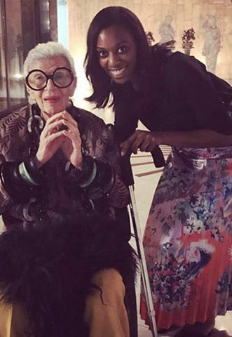 Adele with the legendary Iris Apfel both smiling