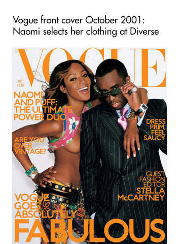 Vogue cover 2001 Naomi Campbell wearing Diverse clothing