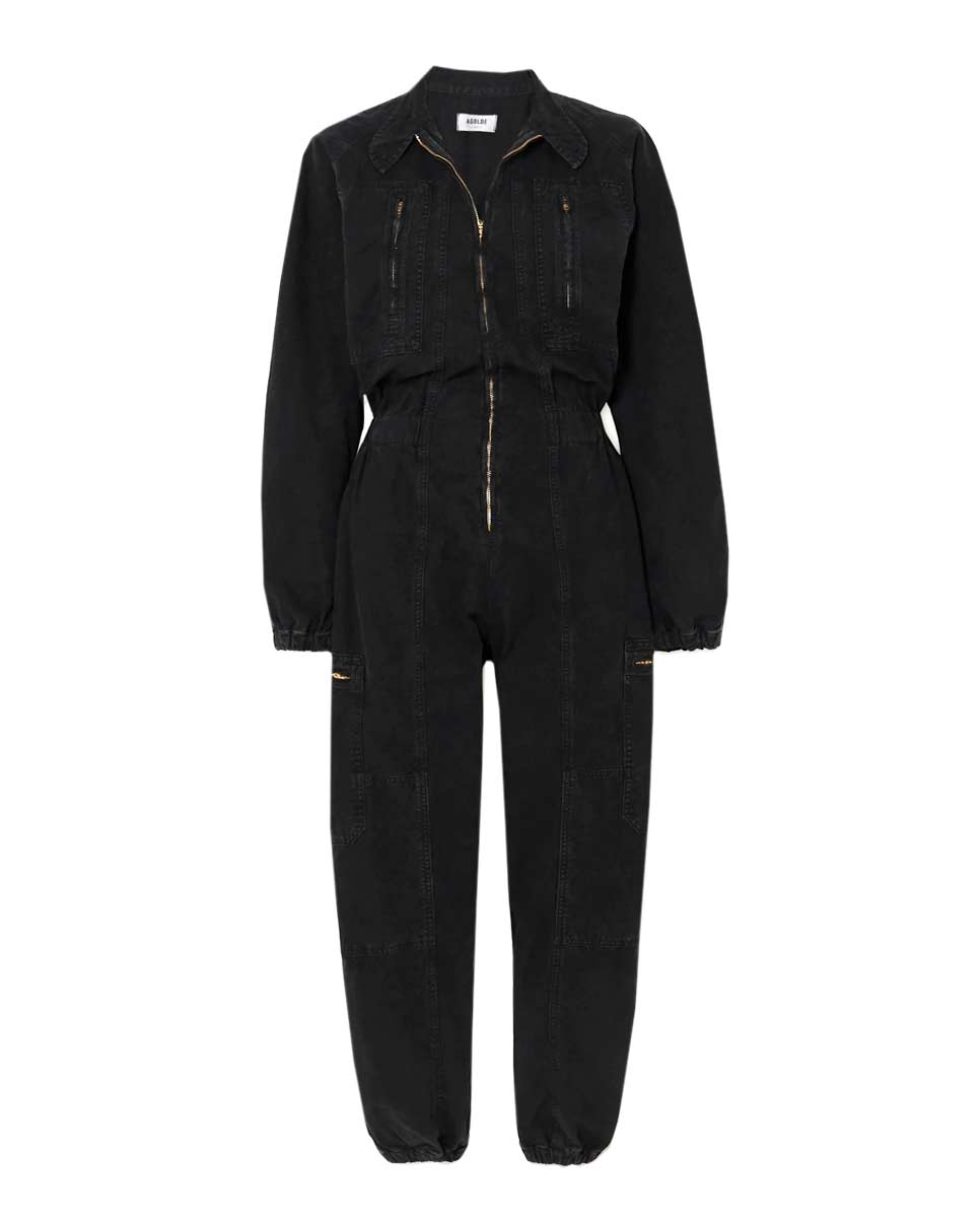 AGOLDE Marin jumpsuit washed black front-Diverse