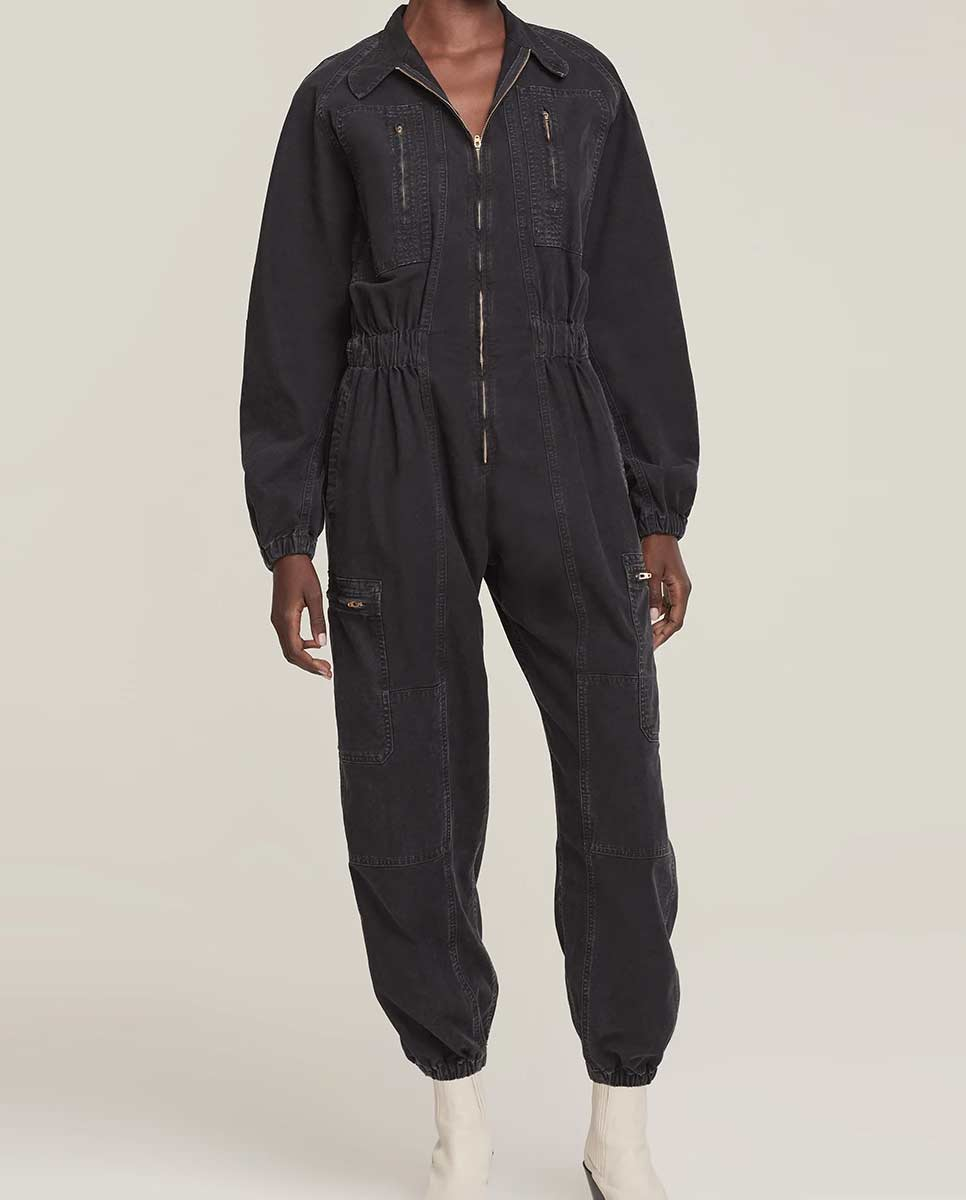 AGOLDE Marin jumpsuit washed black lookbook-Diverse