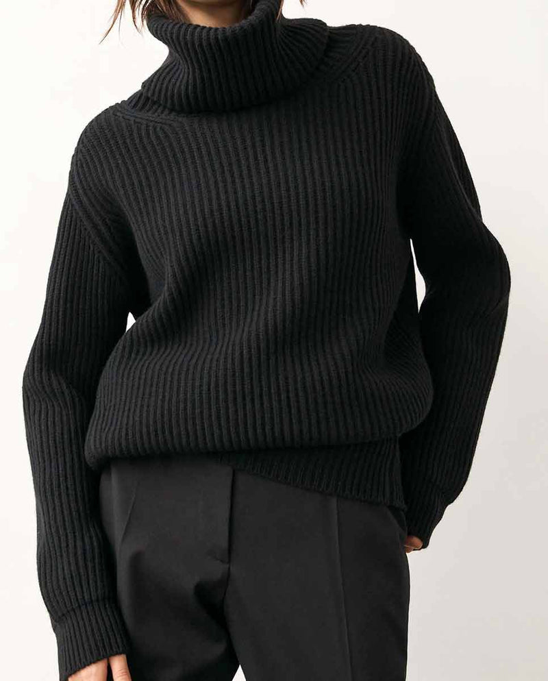 AND DAUGHTER Inver Rib Cashmere Knit black-Lookbook