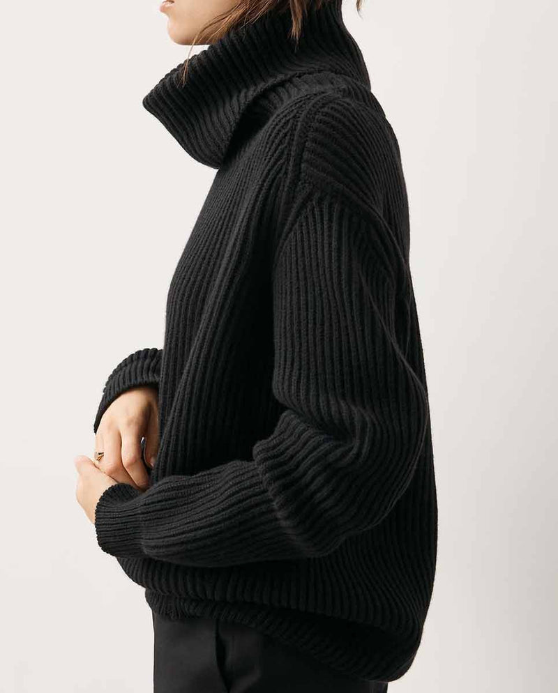 AND DAUGHTER Inver Rib Cashmere Knit black-Profile