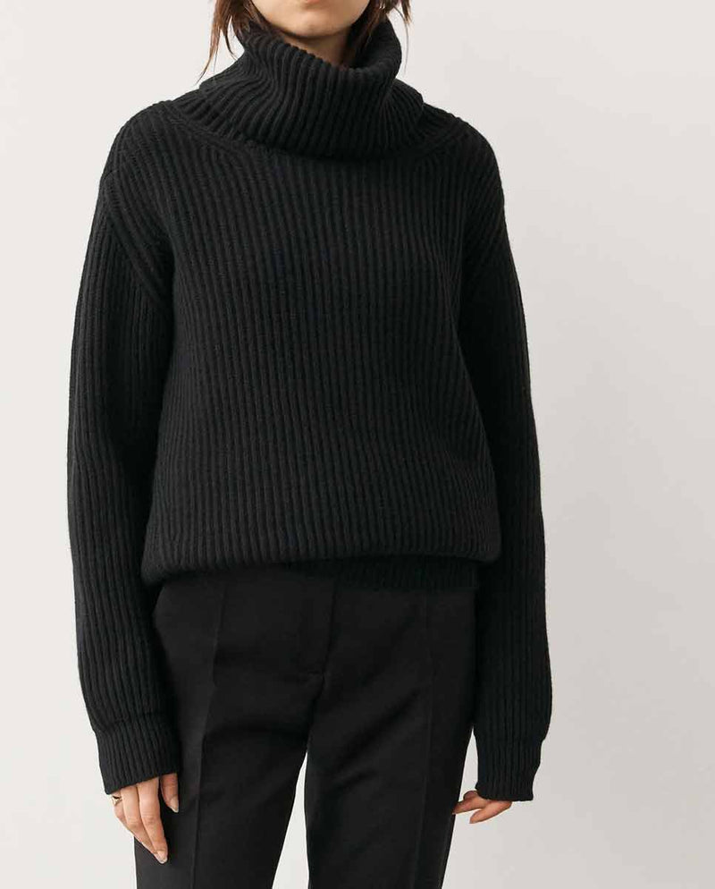 AND DAUGHTER Inver Rib Cashmere Knit black-Side