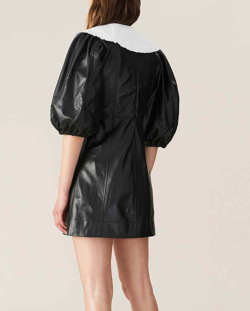 GANNI Lamb leather mini dress Black Back-DIVERSE