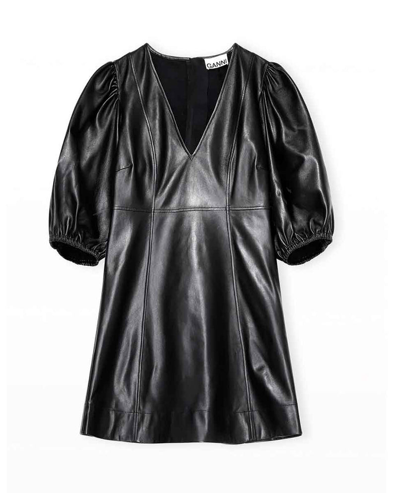 GANNI Lamb leather mini dress Black front-DIVERSE