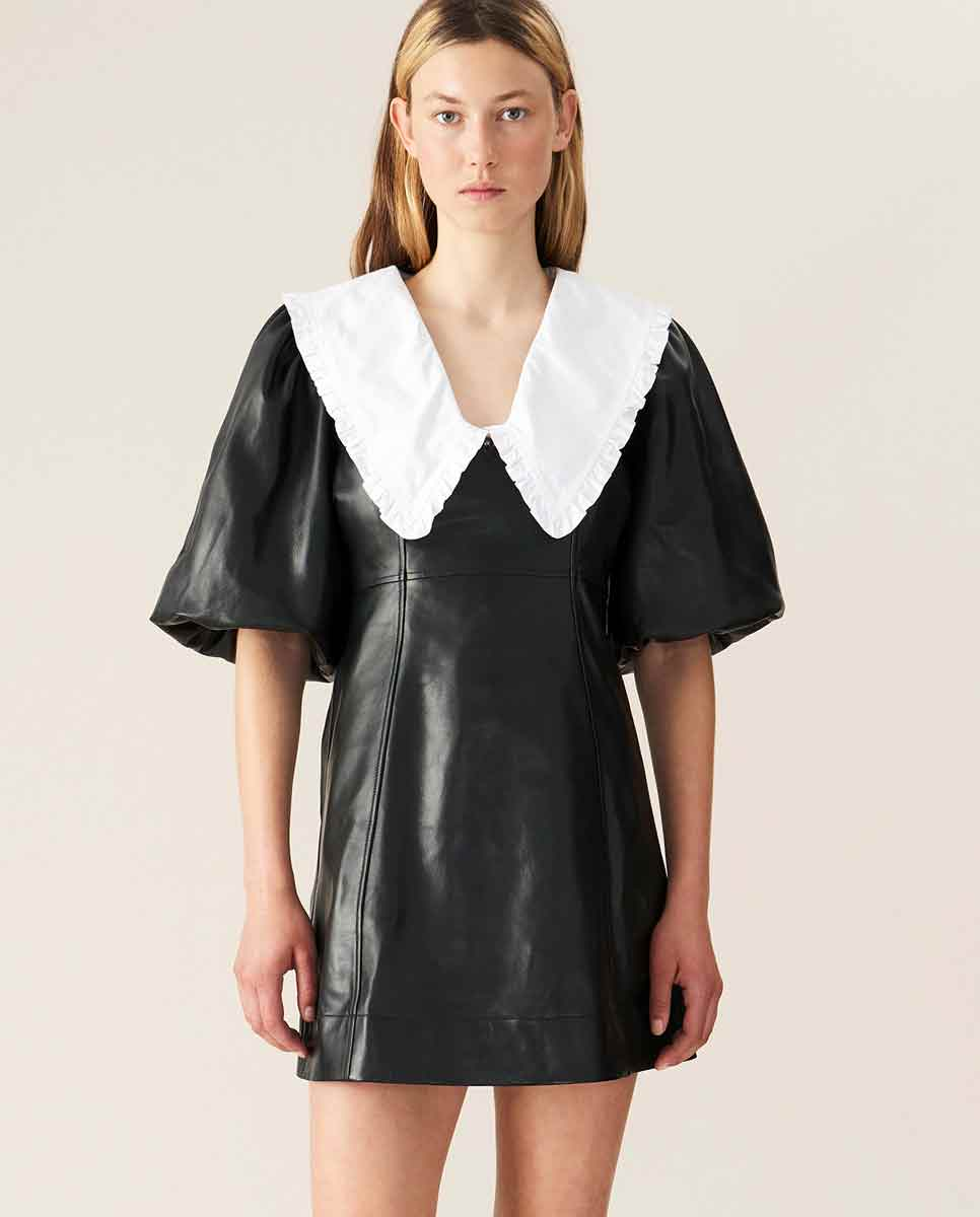 GANNI Lamb leather mini dress Black Lookbook-DIVERSE