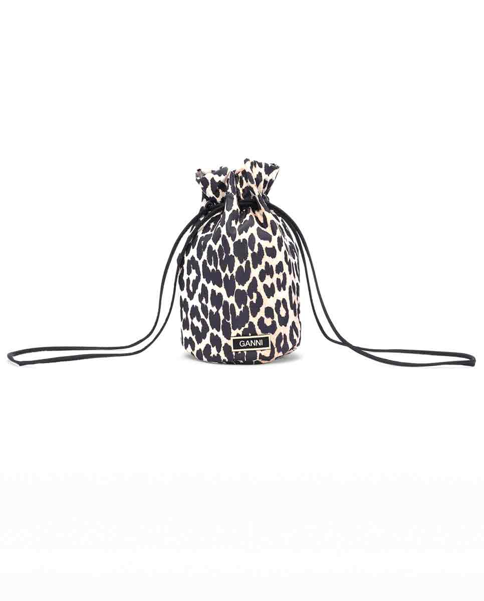 GANNI Recycled tech fabric purse leopard Front-DIVERSE
