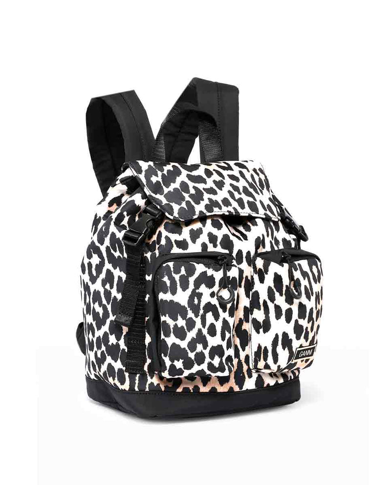 Recycled Tech Fabric small backpack leopard