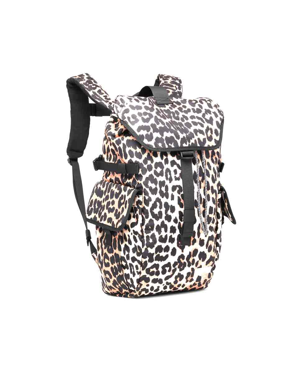 GANNI Tech fabric backpack Leopard front-DIVERSE