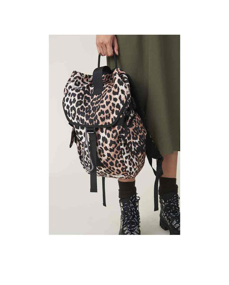 GANNI Tech fabric backpack Leopard lookbook-DIVERSE