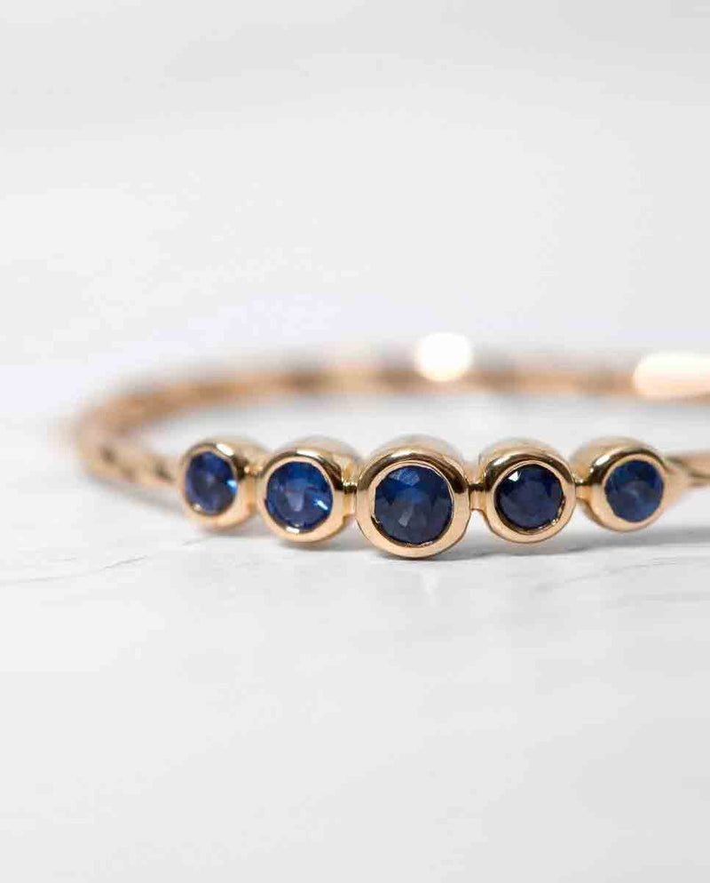 Maria Black Ally ring gold blue sapphires-Front