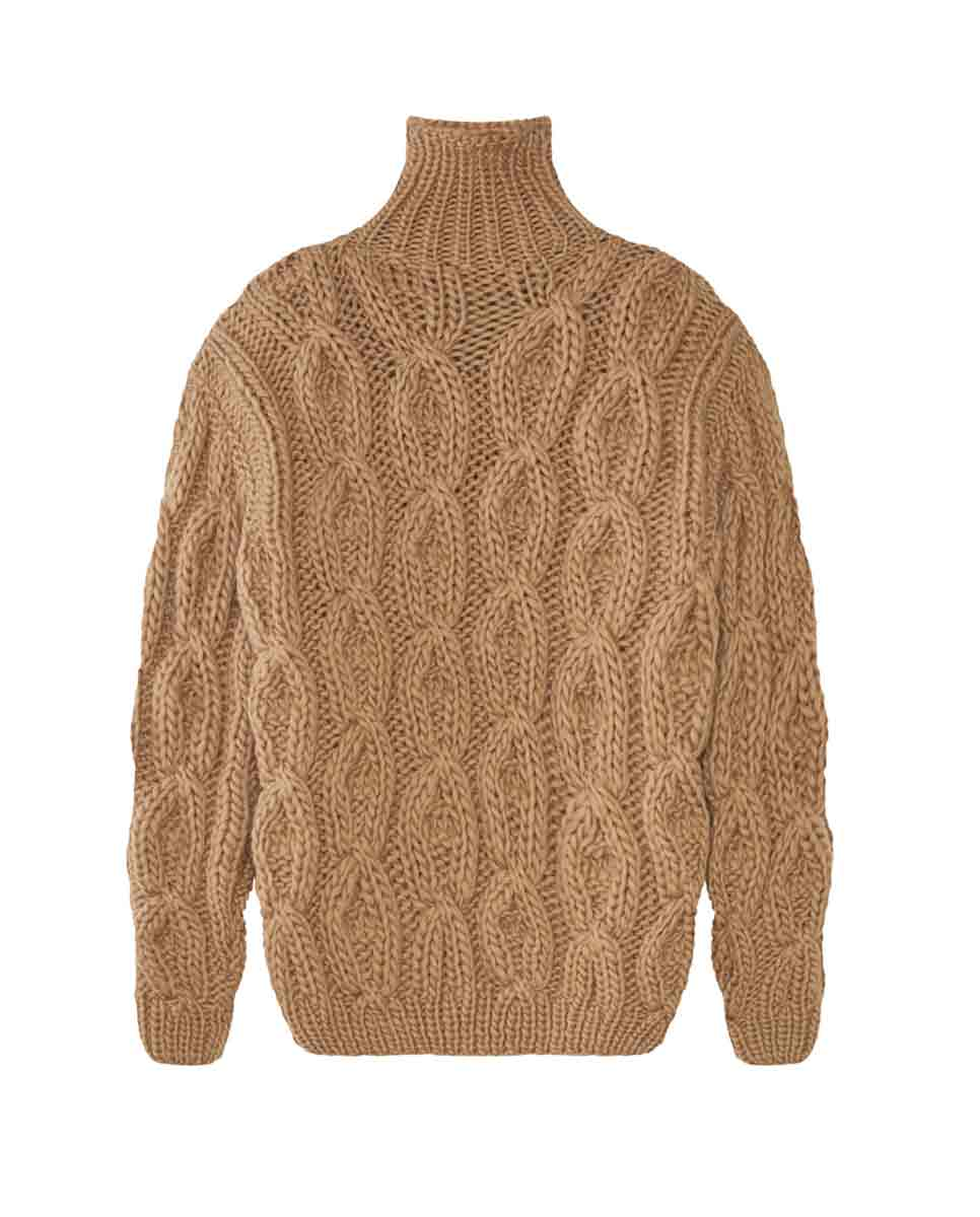 MIRSTORES Oversized Rhomb sweater Sand front-DIVERSE