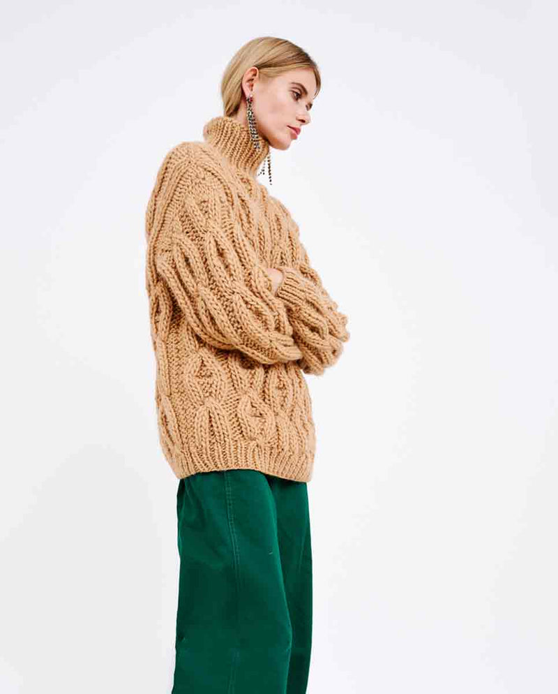 MIRSTORES Oversized Rhomb sweater Sand side-DIVERSE