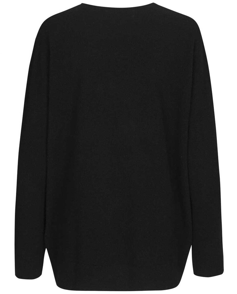 SAMSOE SAMSOE Boston V neck black-BACK