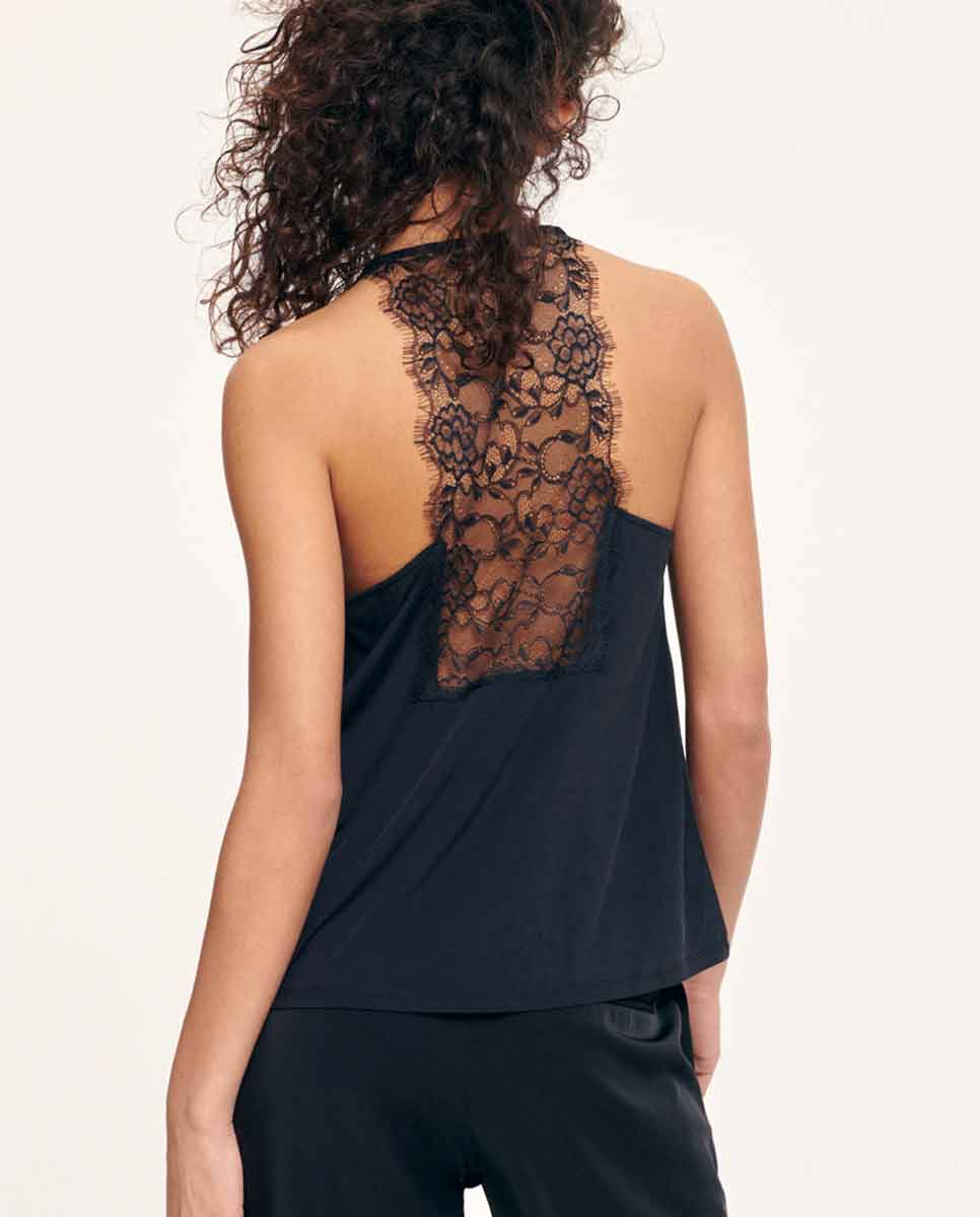 SAMSOE SAMSOE Slipin lace trimmed top black-Back