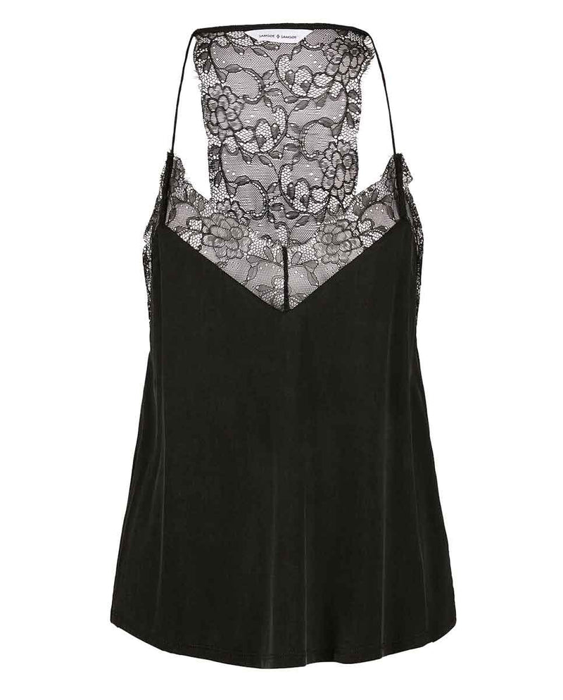 SAMSOE SAMSOE Slipin lace trimmed top black-Front