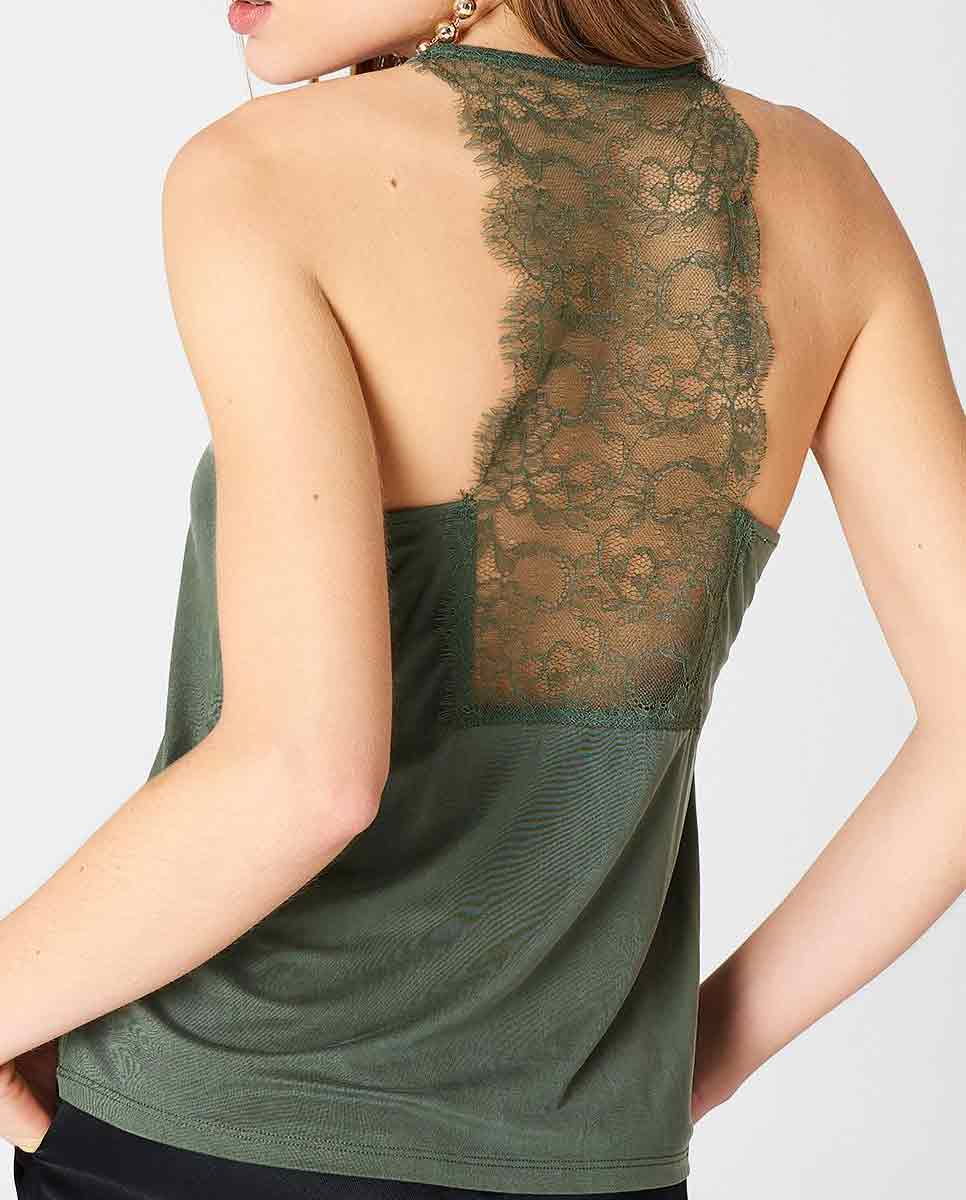 SAMSOE SAMSOE Slipin lace trimmed top green-Back