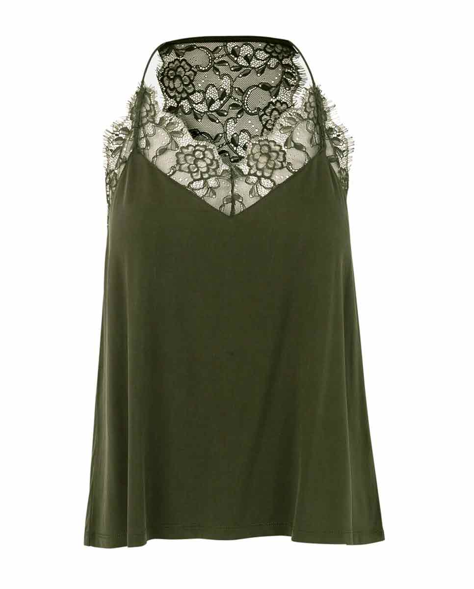 SAMSOE SAMSOE Slipin lace trimmed top green-Front