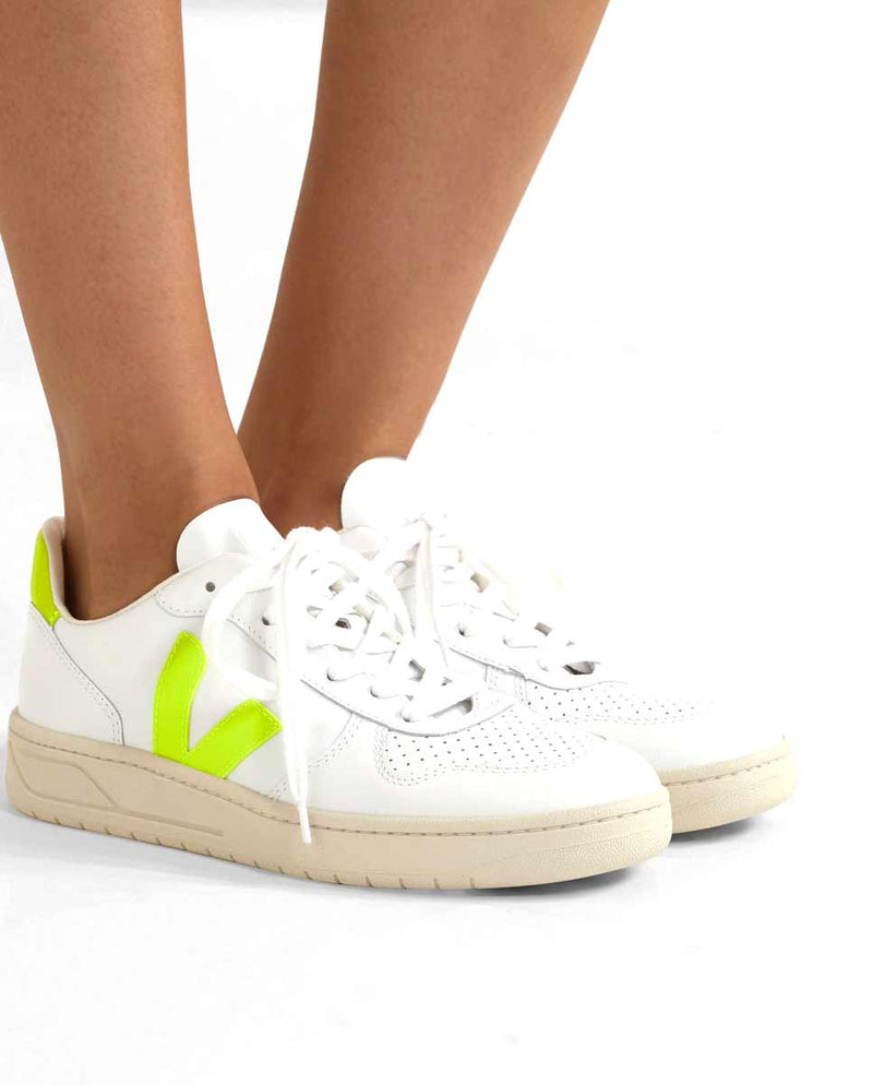 Veja V 10 trainers leather neon yellow-lookbook