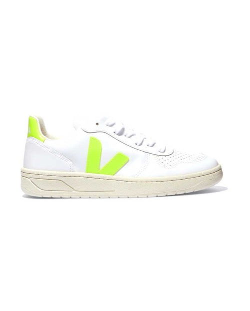 Veja V 10 trainers leather neon yellow