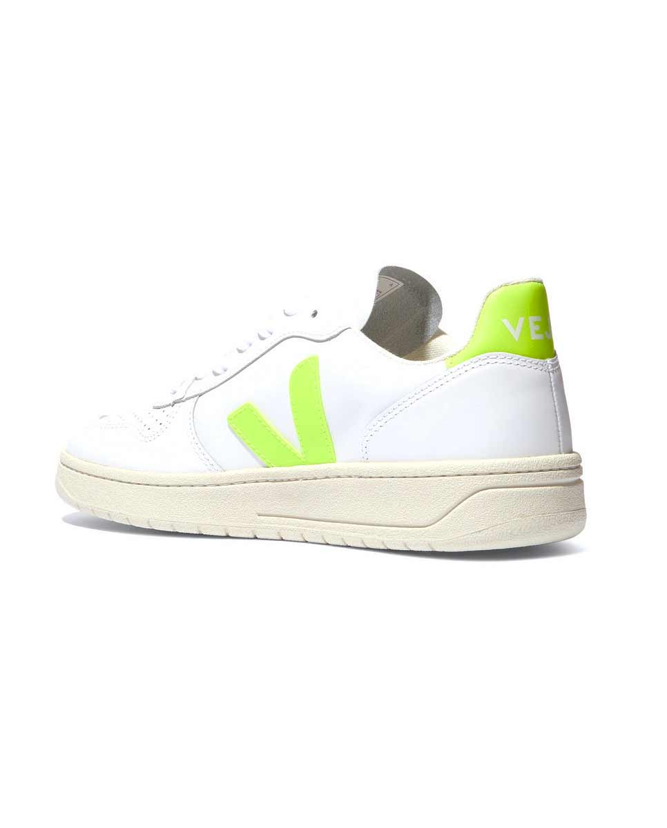 Veja V 10 trainers leather neon yellow-back