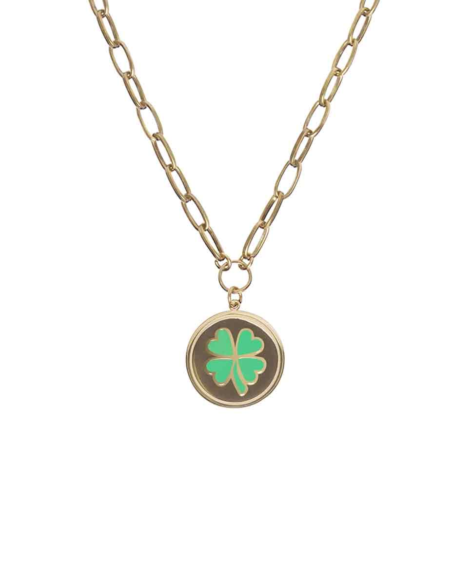 WILHELMINA GARCIA Clover necklace gold front-Diverse