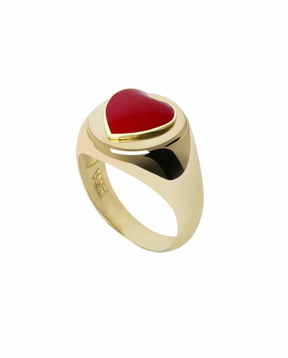 WILHELMINA GARCIA Gold heart ring red front-Diverse