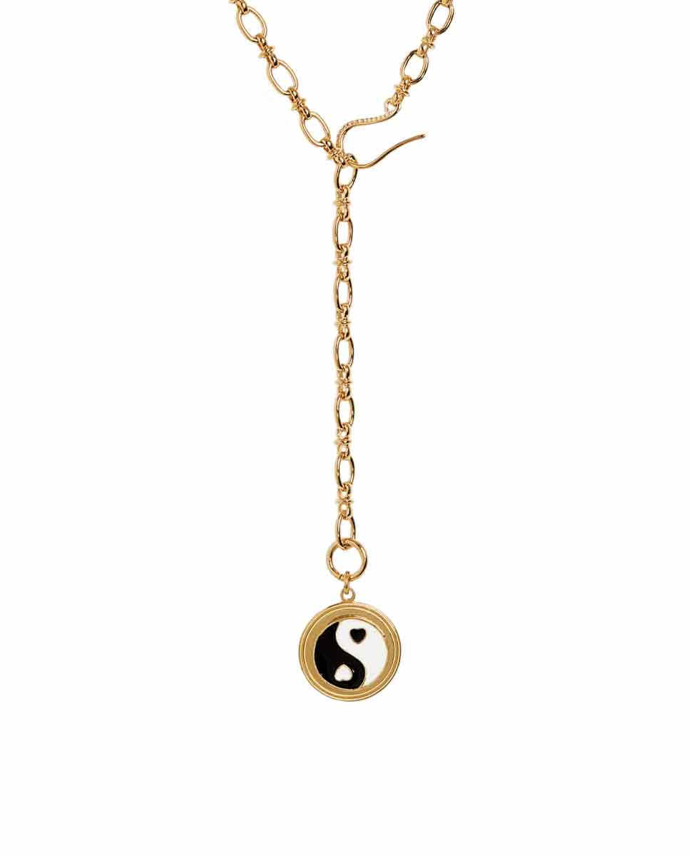 WILHELMINA GARCIA Yin Yang necklace gold black -Front