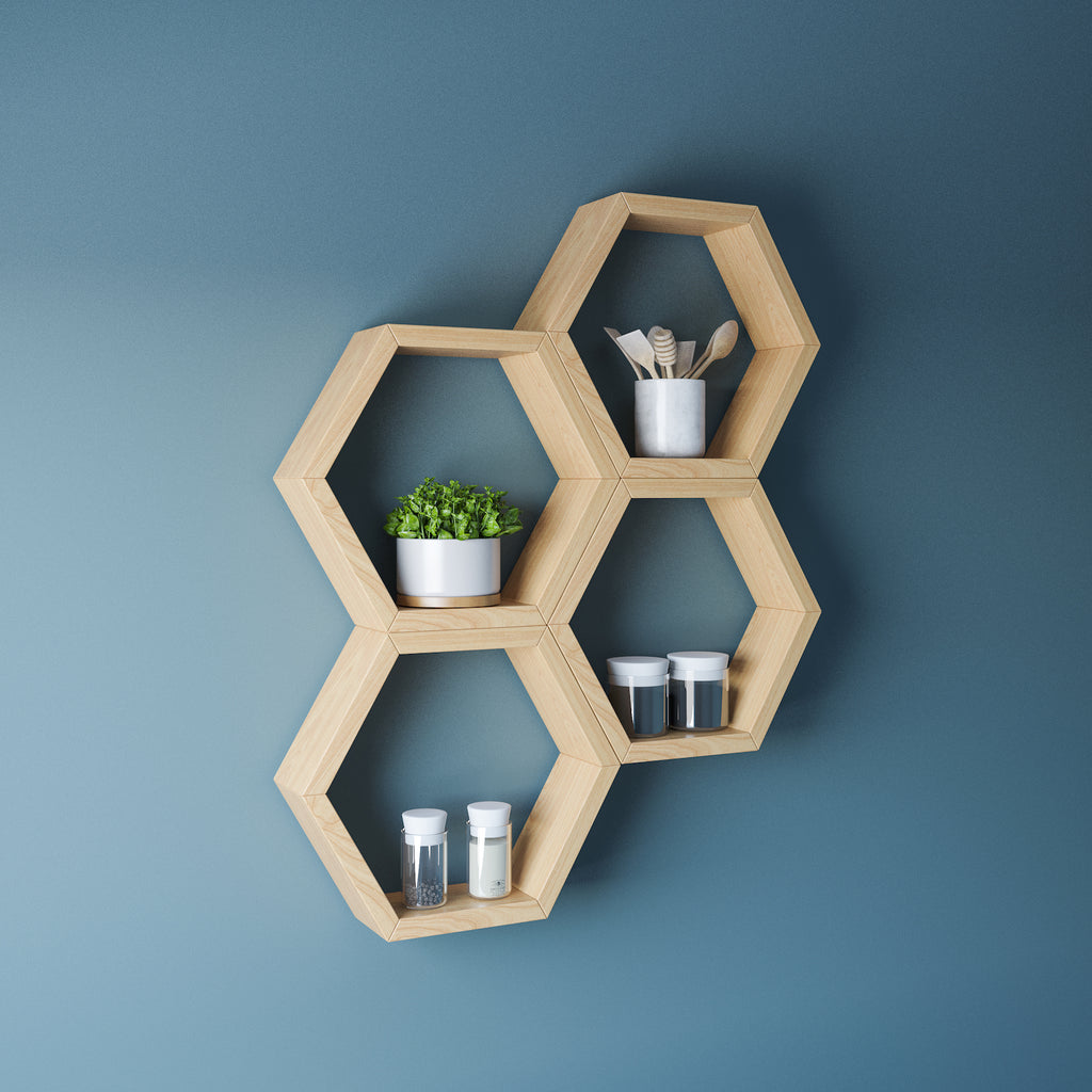 Chunky Oak Hexagon Floating Shelves
