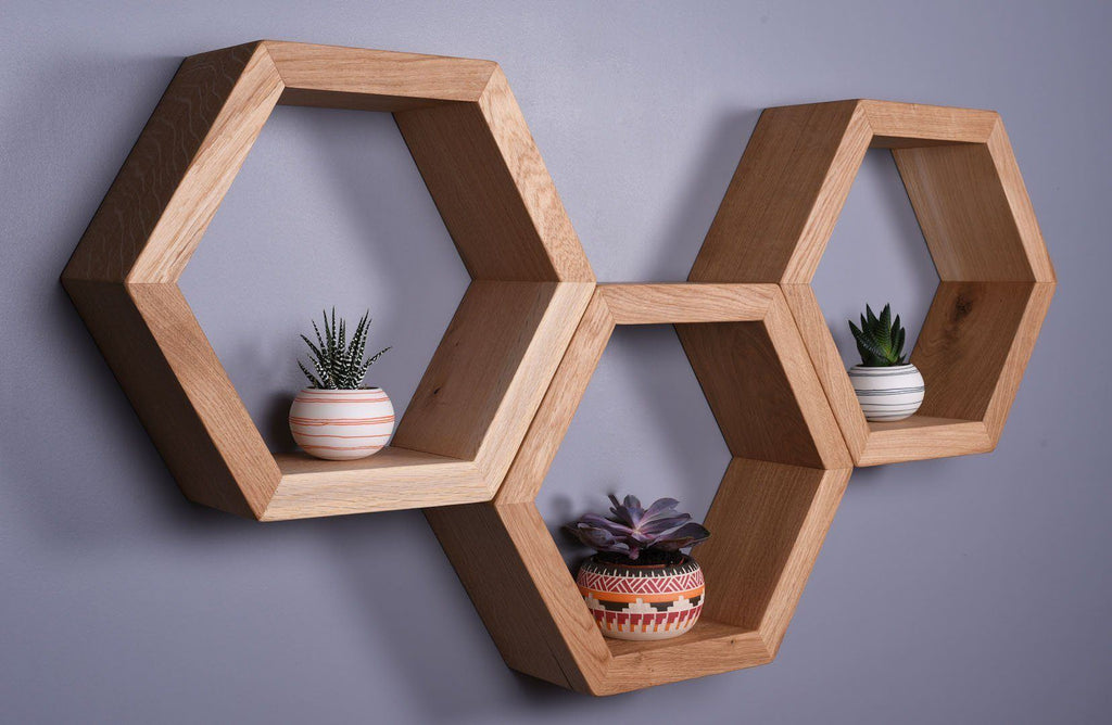 Chunky Oak Hexagon Floating Shelves - Kube Designs