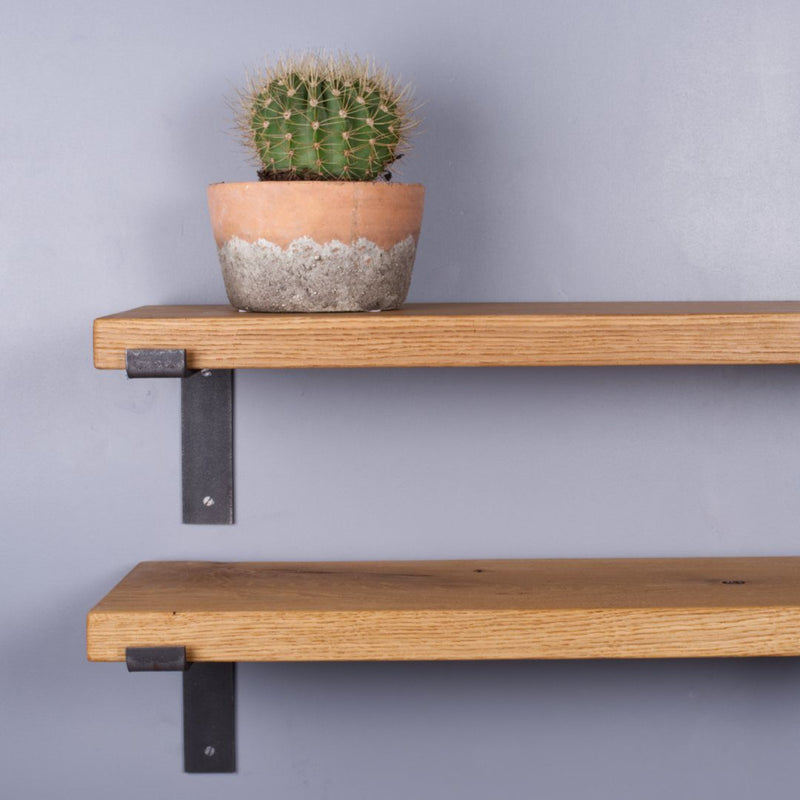 Chunky Oak Industrial Shelf - 200mm Deep - Kube Designs