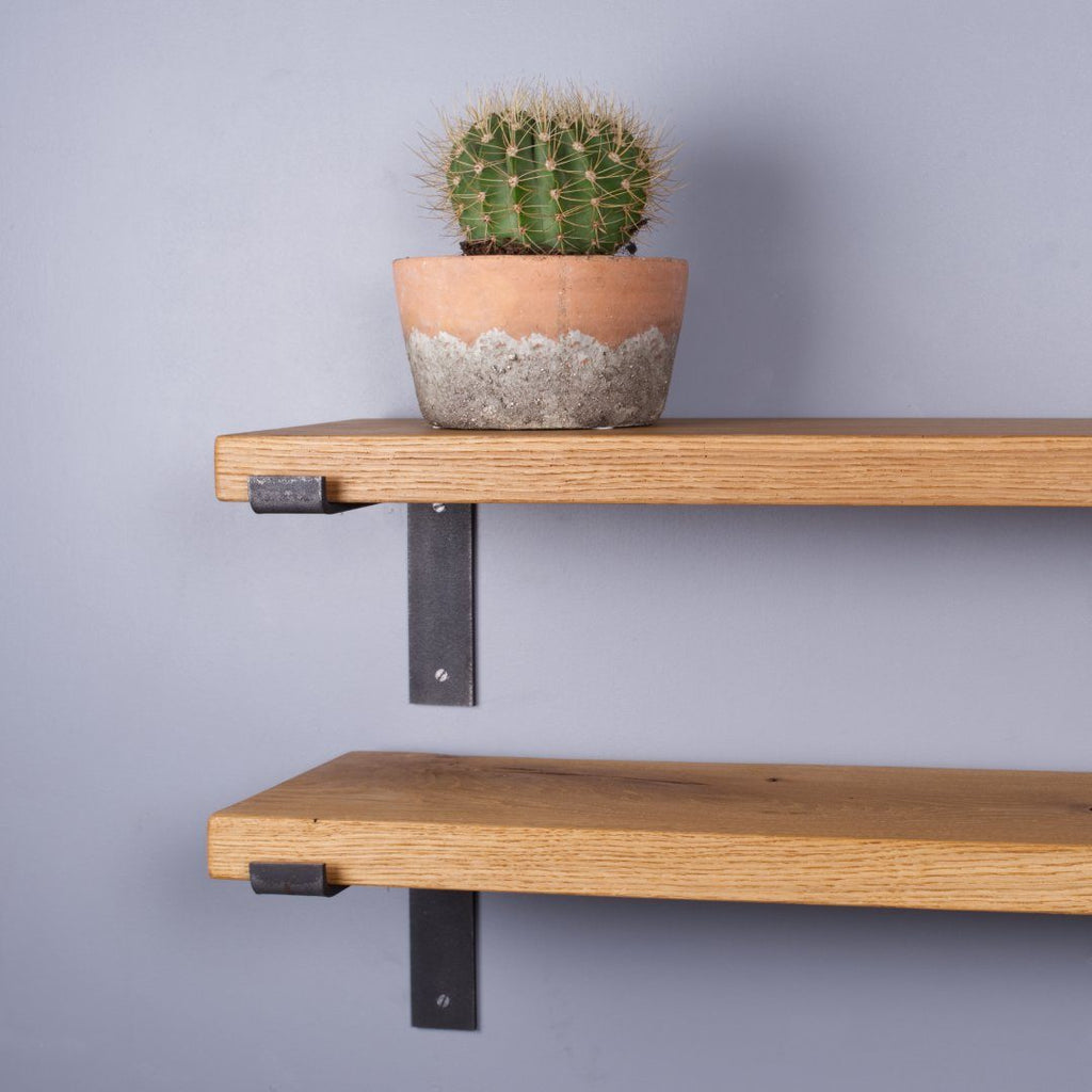 Chunky Oak Industrial Shelf - 225mm Deep - Kube Designs