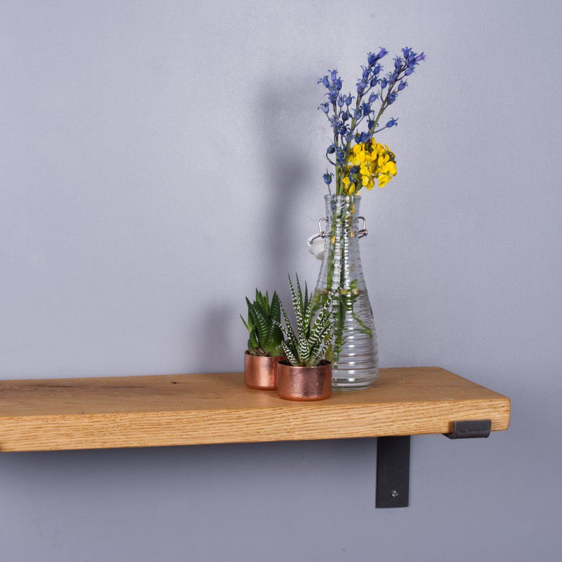 Chunky Oak Industrial Shelf - 250mm Deep - Kube Designs