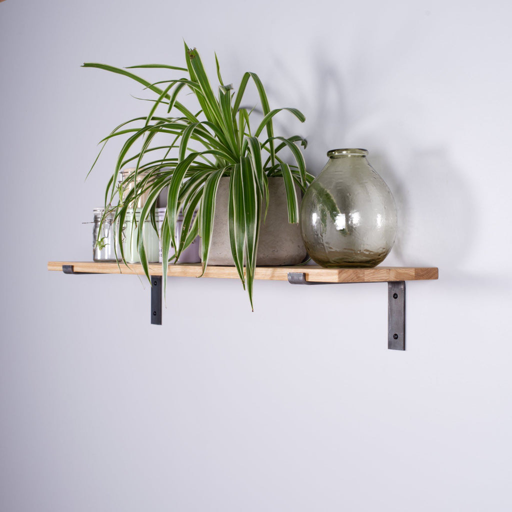 Oak Industrial Shelf - 150mm Deep - Kube Designs