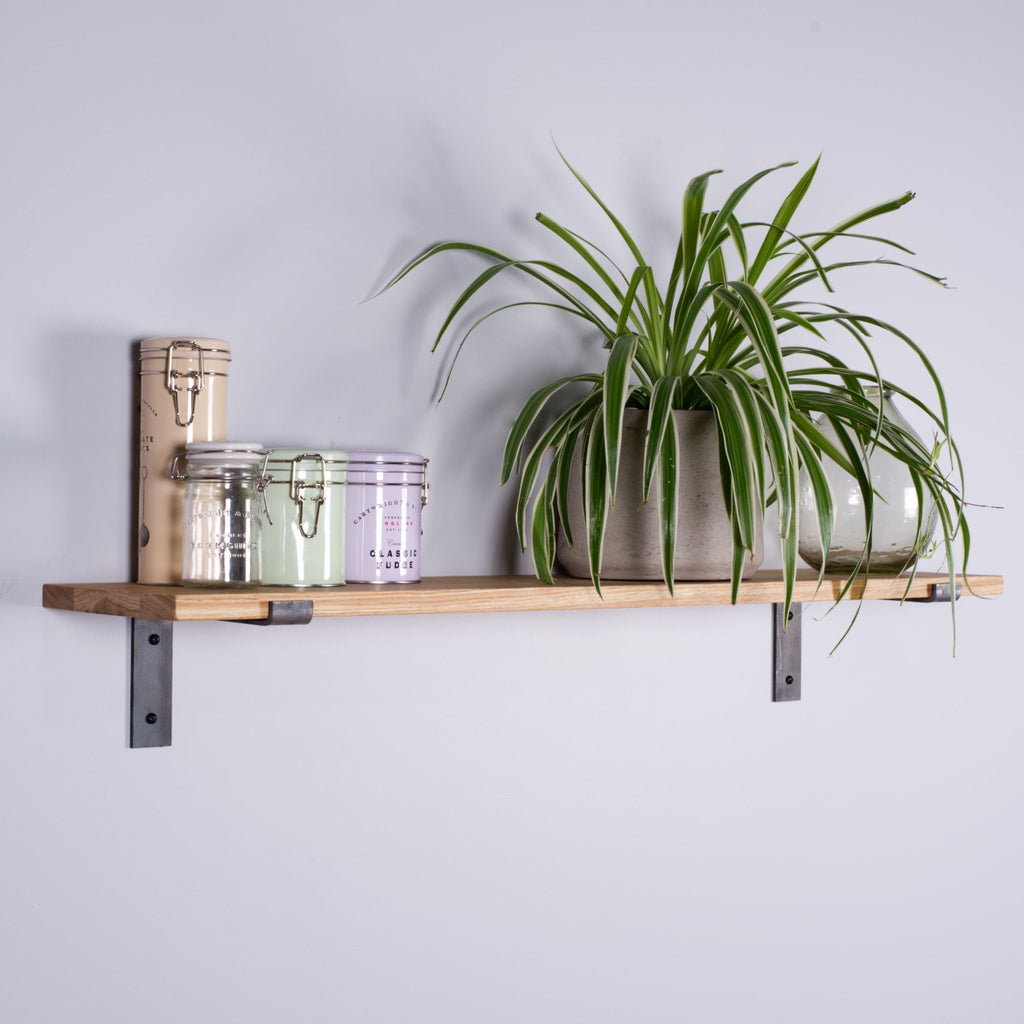 Oak Industrial Shelf - 200mm Deep - Kube Designs