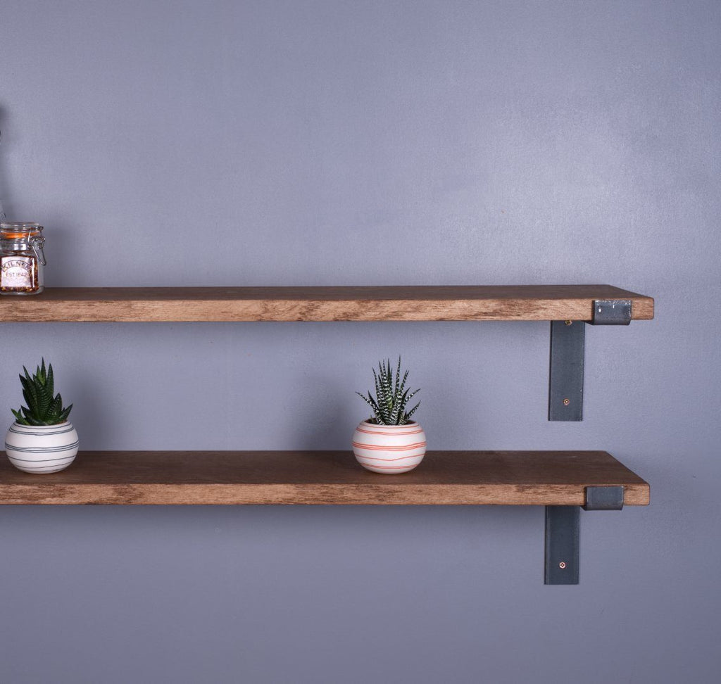 Oak Industrial Shelf - 225mm Deep - Kube Designs