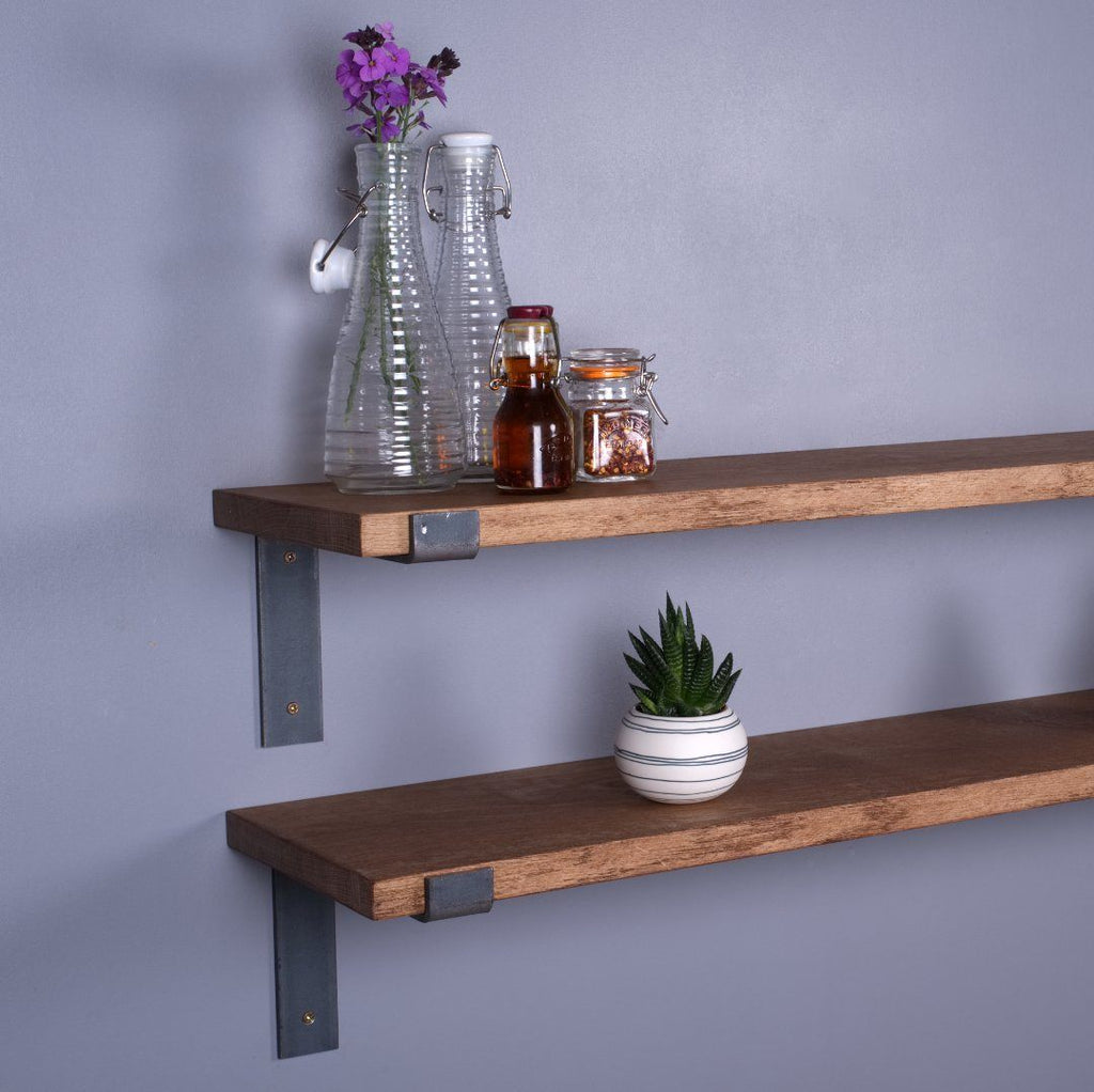 Oak Industrial Shelf - 250mm Deep - Kube Designs