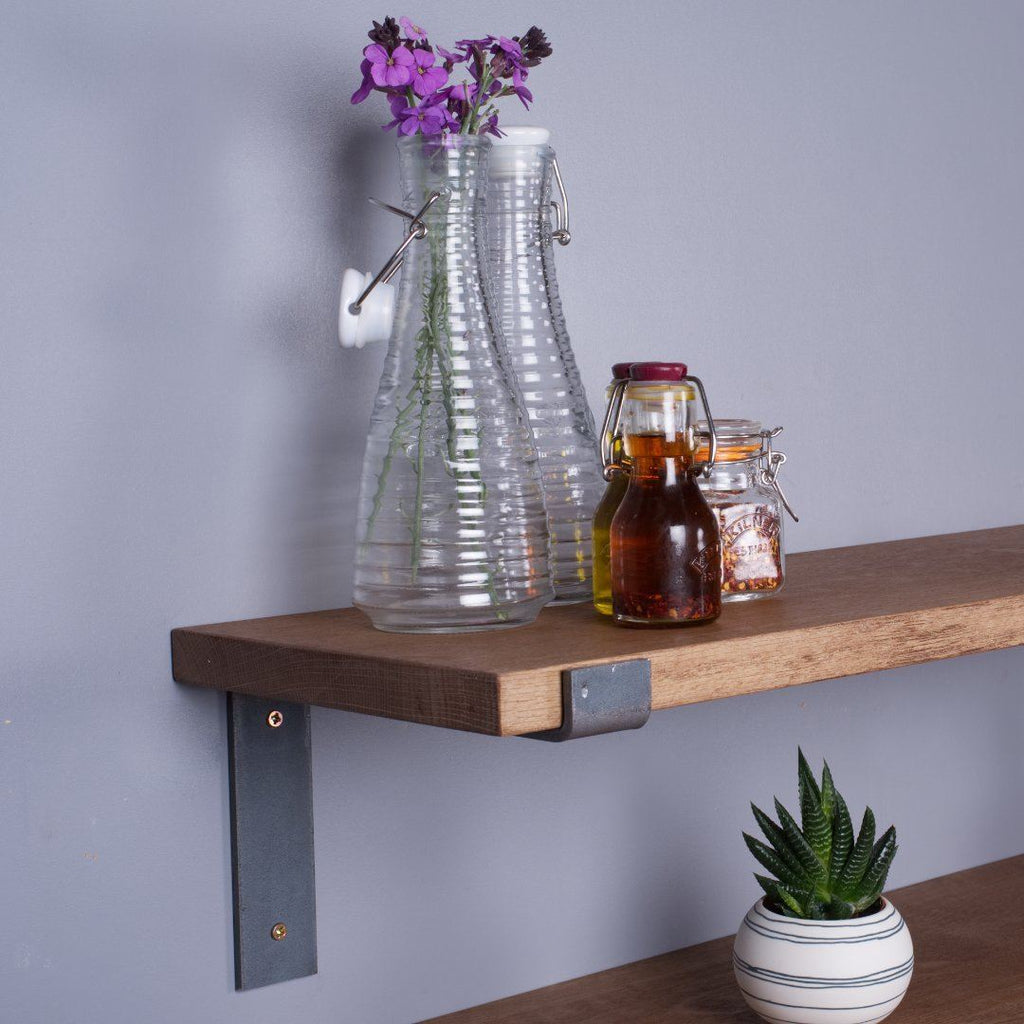 Oak Industrial Shelf - 300mm Deep - Kube Designs