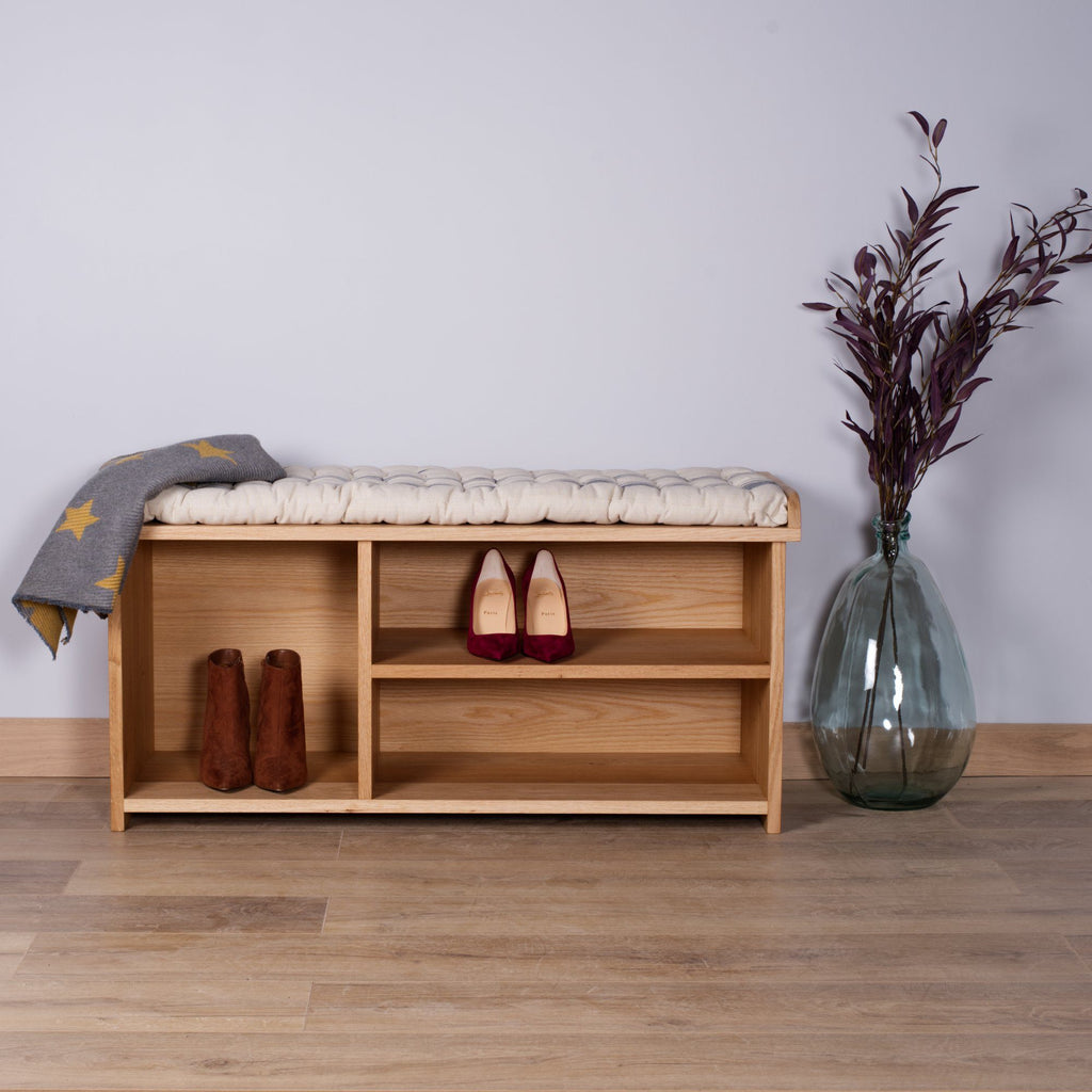 Oak Boot Storage Bench - Kube Designs
