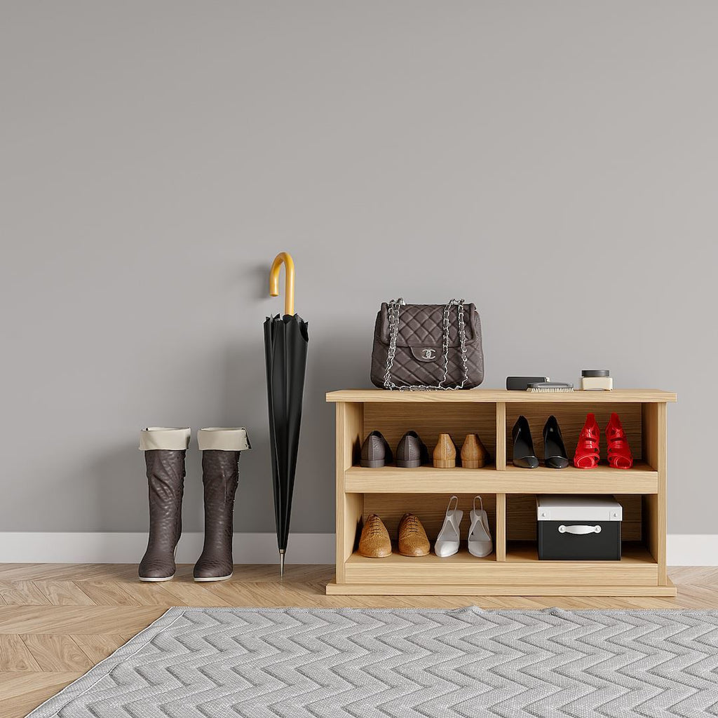 Solid Oak Shoe Bench & Coat Rack With Shelf - Kube Designs