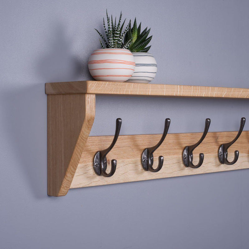 Oak Coat Rack With Shelf - Kube Designs