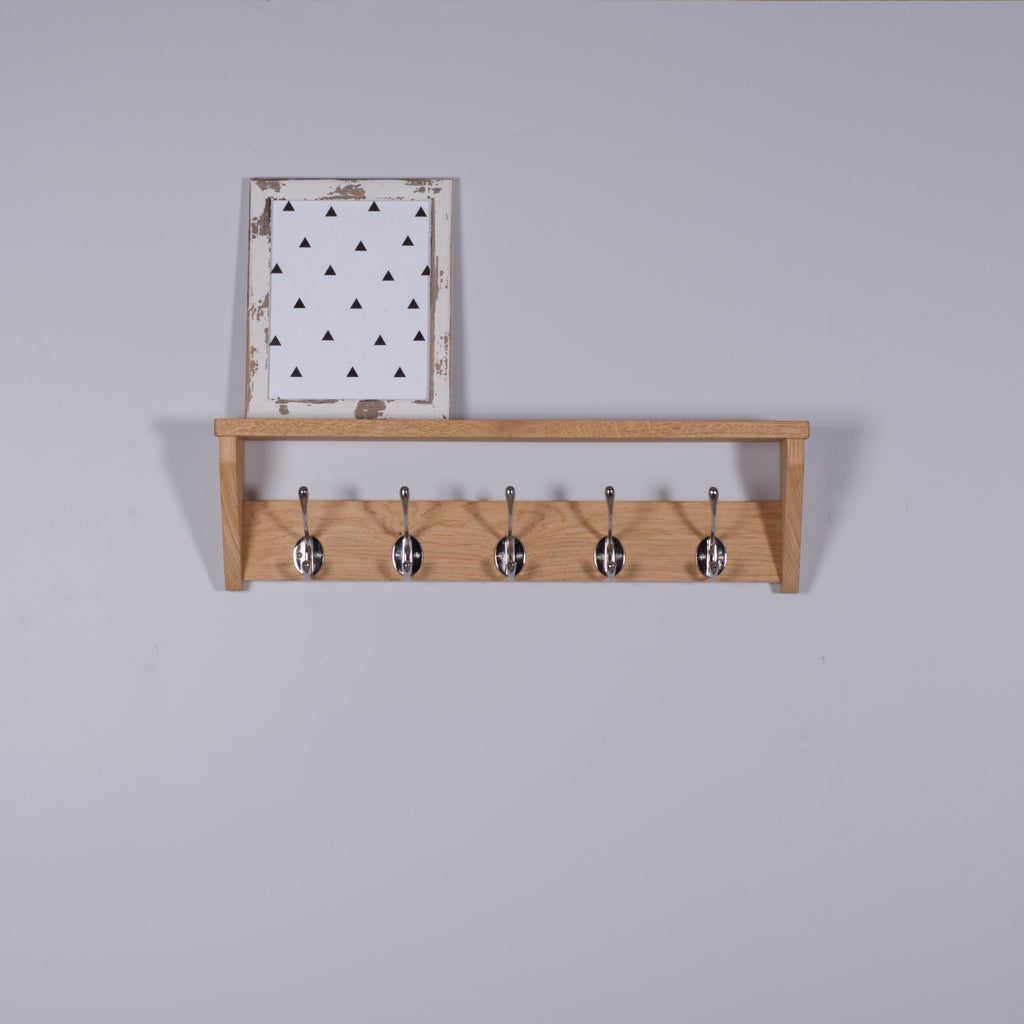 Oak Coat Rack With Shelf Chrome Hooks - Kube Designs