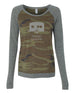 Happy Camper Camo - Womens Long Sleeve Shirt