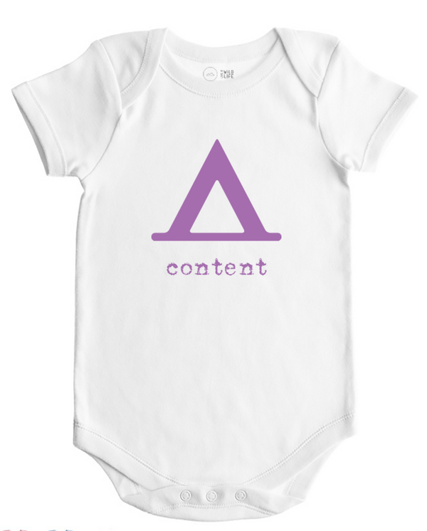 Content - Baby Bodysuit - White w/Storm Grey, Lilac or Rain Imprint