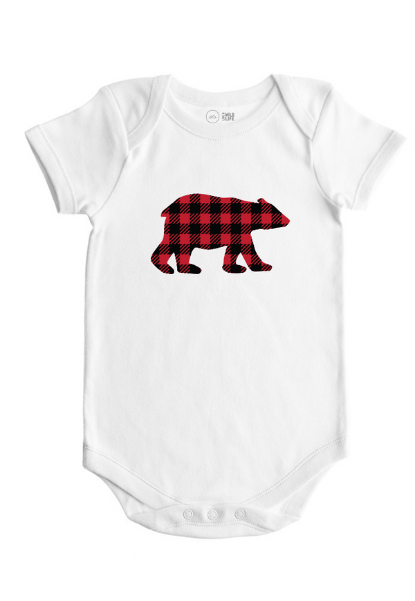 Plaid Bear - Baby Bodysuit - Forest Critters Collection